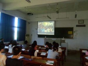 WUSIEP students viewing Public Enemy's 1989 video for Fight the Power.